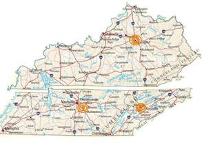 kentucky tennessee map with cities images