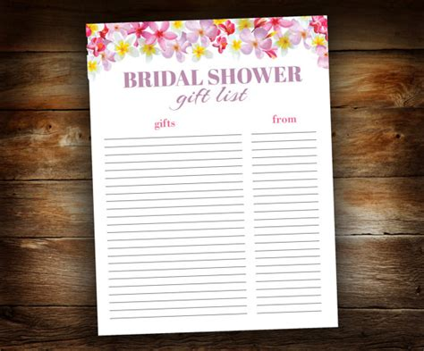 printable wedding shower gift list bridal shower gift list list of received by