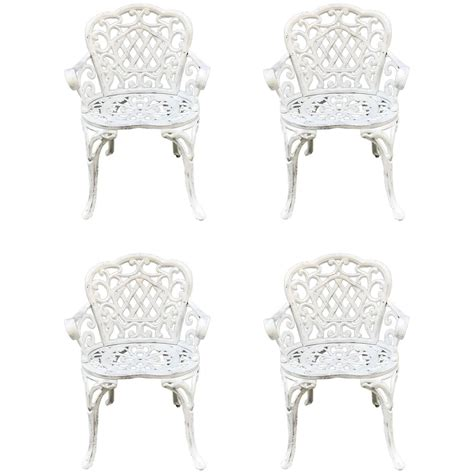 Patio Furniture Sets Cast Iron Set Of Four Early Cast Iron Garden Chairs For Sale At 1stdibs