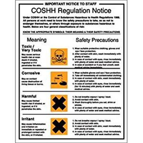 Dining Room Linens coshh regulation safety notice rigid sign make
