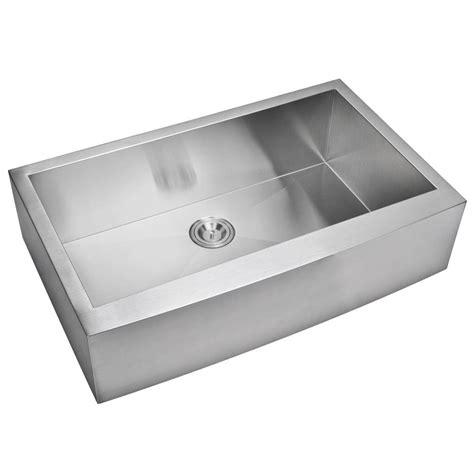 Water Creation Farmhouse Apron Front Zero Radius Stainless Water Kitchen Sink