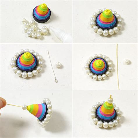 easy handmade colorful quilling paper cone dangle earrings