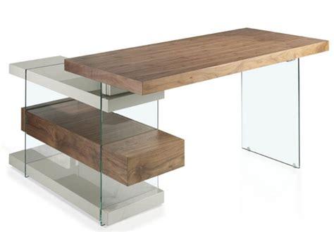 bureau angle en verre bureau d angle contemporain bois plaqu 233 noyer et verre