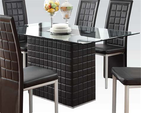 glass table dining set dining set w clear glass table abbie by acme ac70714set