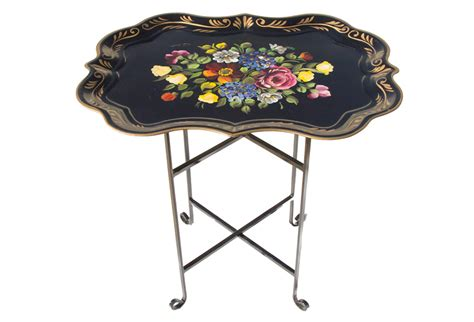 vintage painted tole tray table omero home