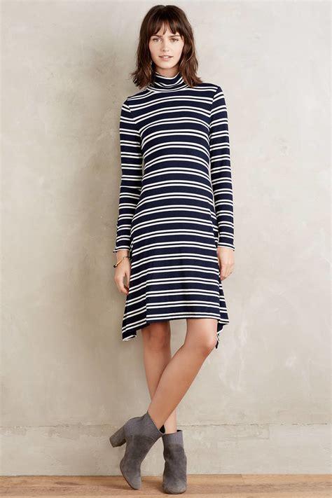 turtleneck swing dress maeve turtleneck swing dress in blue lyst