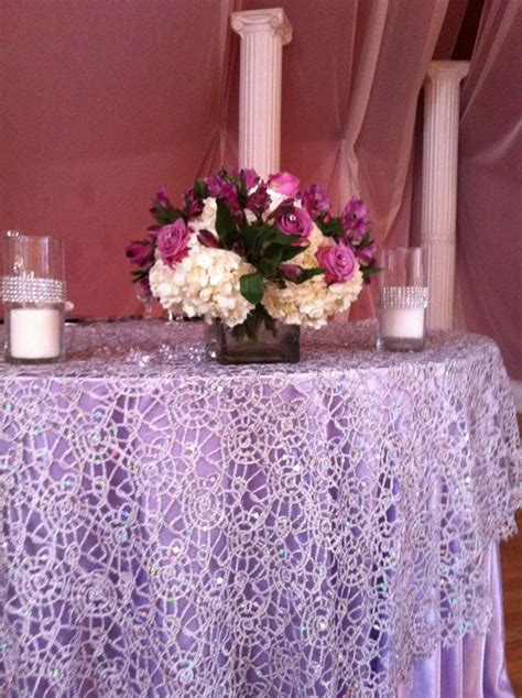 plum sequin table runner chemical lace silver overlay over satin lavender