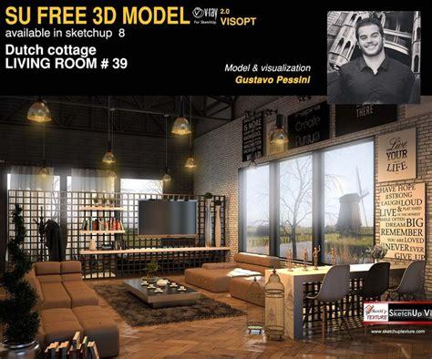 Stunning Free Sketchup Model Dutch Cottage Living Room 39