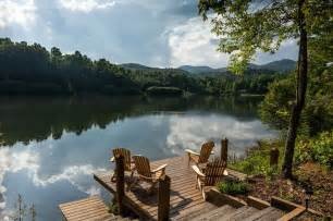 mountain lake cabin scenery to die for