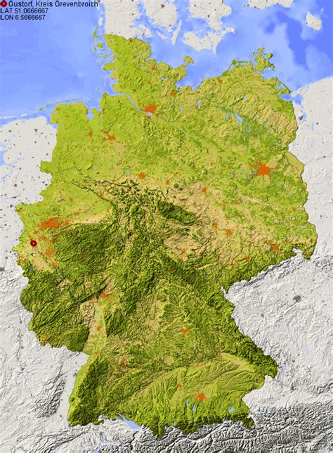 topographic map germany location of gustorf kreis grevenbroich in germany