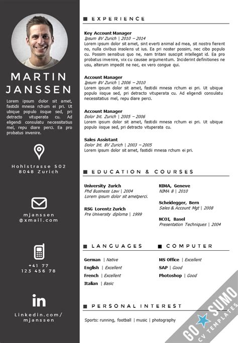 unique resume templates cv template zurich creative cv template creative cv and