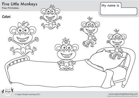 coloring pages monkeys jumping bed english class imprimir