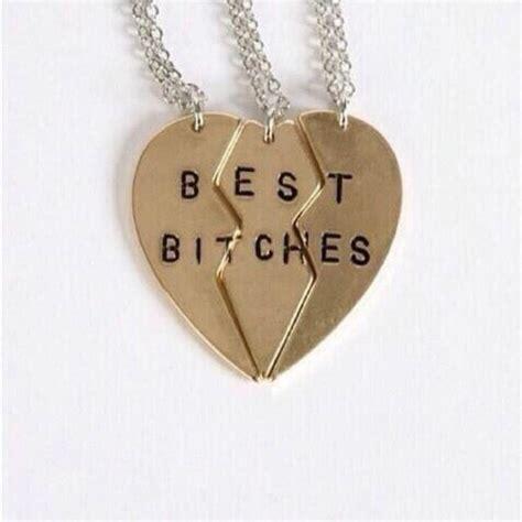 Amazon.com: Best Bitches Heart Necklace 3 PC Set Gold Tone Split BFF Best Friends Three Piece