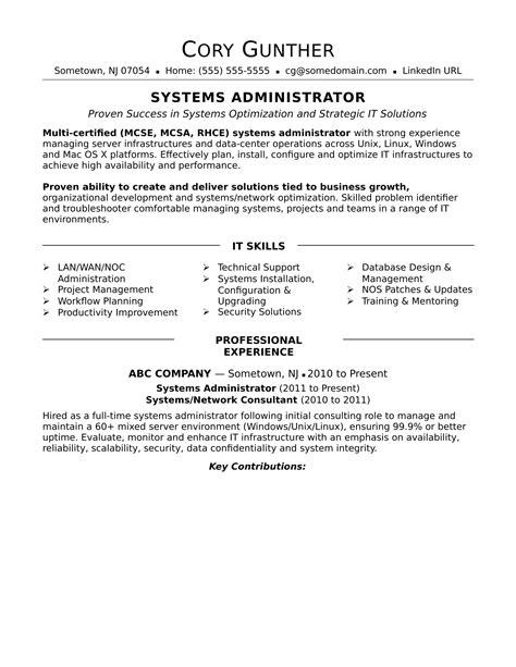 sample resume   experienced systems administrator monstercom