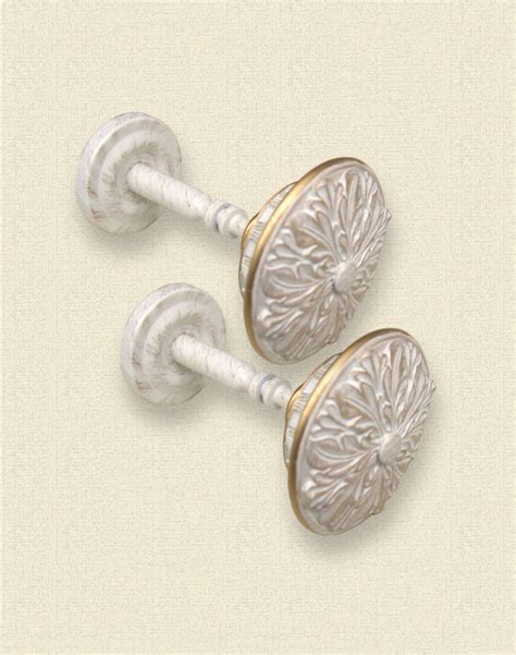 Pavia ivory with gold finial holdback pair curtainworks com