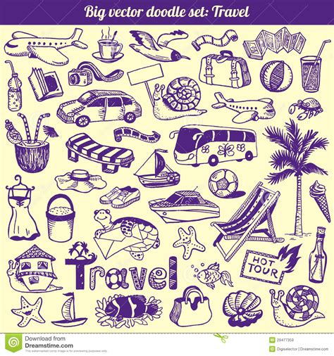 free doodle vector set travel doodles collection vector royalty free stock images