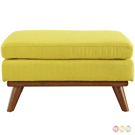 Engage Modern Button Tufted Upholstered Corner Ottoman Sunny