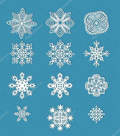 Handmade Paper Snowflakes - collection of handmade paper snowflakes stock vector