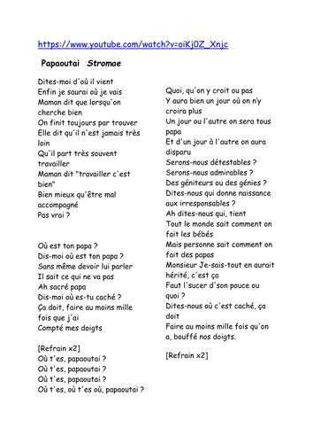 formidable stromae testo quot papaoutai quot chanson par stromae by bek72 teaching