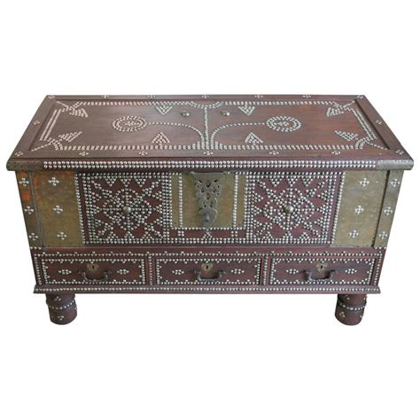 arab wooden and brass studded coffee cocktail table trunk