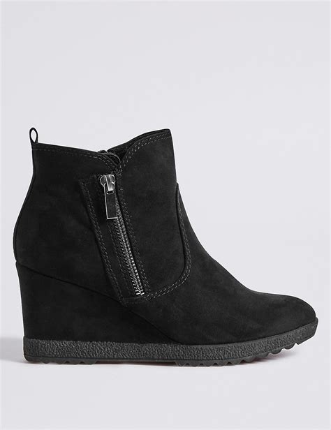 m s collection wedge heel ankle boots winter wedges