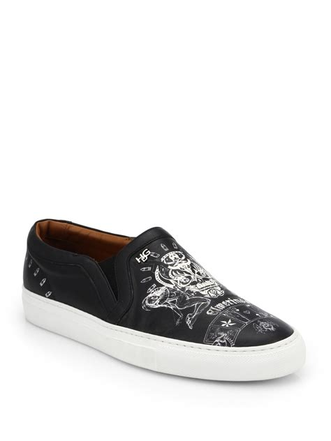 givenchy sneakers givenchy skull printed leather skate sneakers in black for