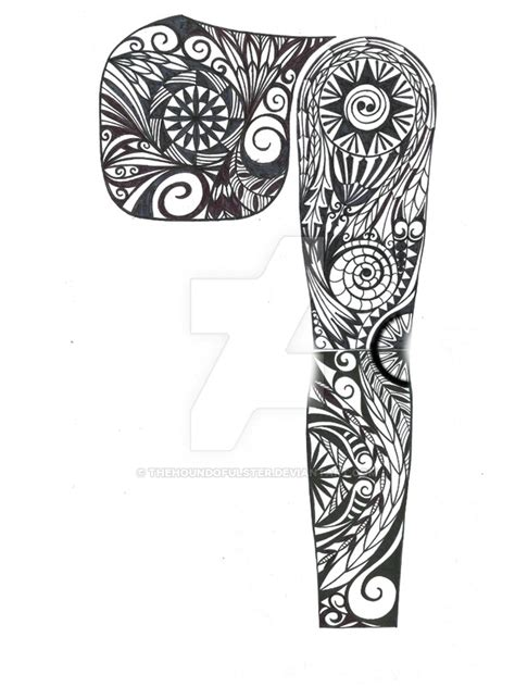 tribal pec sleeve tattoo design by thehoundofulster on