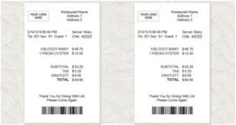 blank restaurant receipt