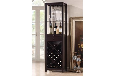 wood home dining room bar cabinet furniture bottle austin brown wood modern wine tower chicago