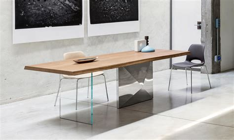tavolo legno e acciaio tavolo di design cubric in legno acciaio e cristallo