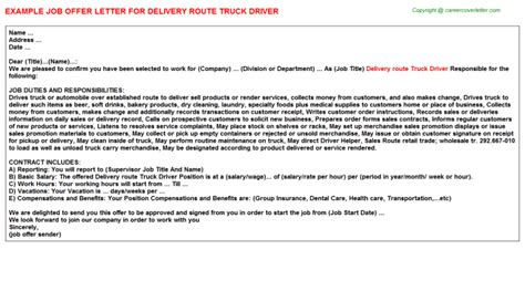 Route Driver Description by 88m Truck Driver Resumes Sles Supervisor Route Sales Delivery Drivers Offer Letter Cdl