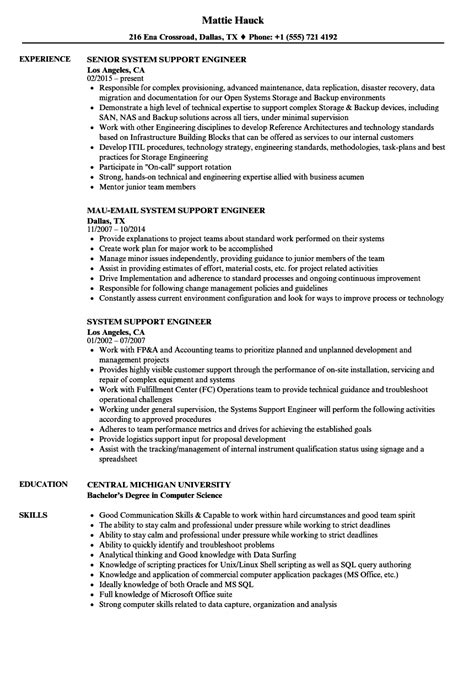 system support engineer resume sles velvet