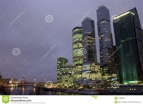 modern style modern architecture city and modern architecture city evening royalty free stock