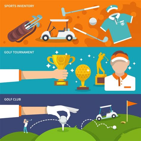 colorful golf colorful banners with golf items vector free