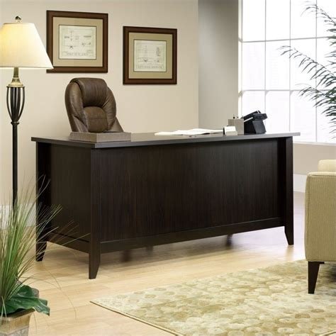 sauder shoal creek executive desk executive desk in jamocha wood 408920