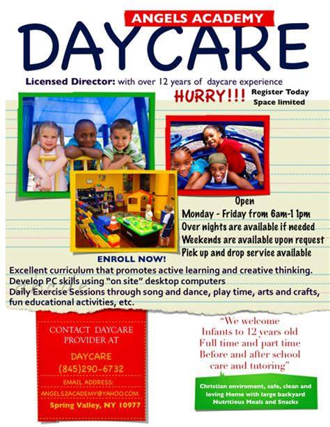 free child care flyer templates day care flyer template