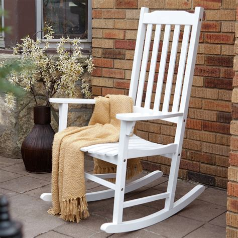 White Rocking Chair Outdoor by Coral Coast Indoor Outdoor Mission Slat Rocking Chair