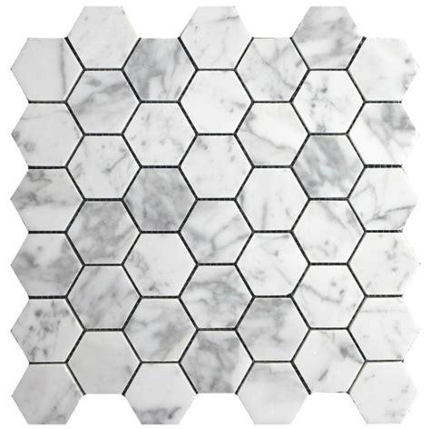 10 87sf carrara carrera bianco honed 2 quot hexagon mosaic tile