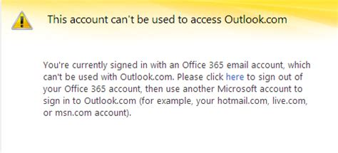 office 365 account can't be used to access outlook.com or