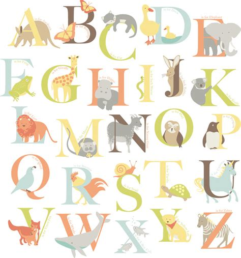 printable alphabet letters for decoration alphabet zoo wall art decal kit contemporary wall