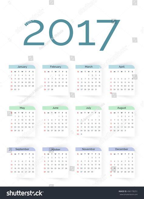 simple calendar template simple 2017 year vector calendar template stock vector