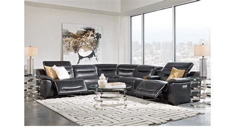 3 749 99 Gallia Black Leather 7 Pc Power Plus Reclining Black Leather Living Room Furniture Sets
