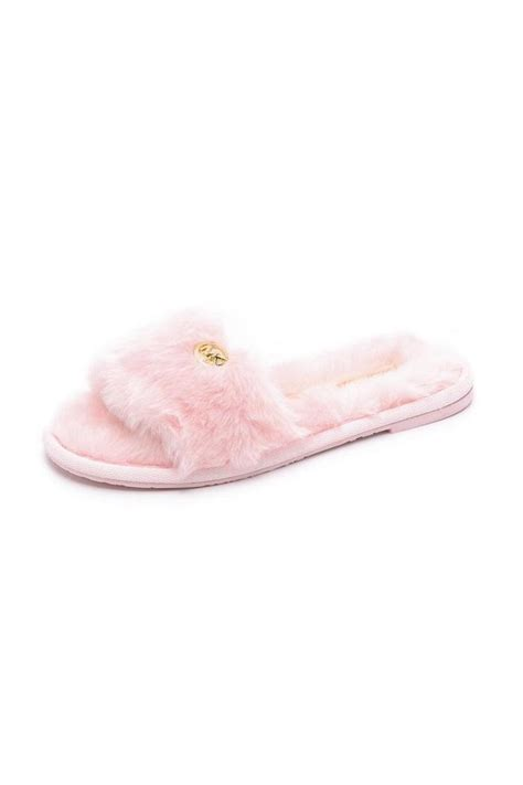 pink fuzzy slippers michael kors pink fuzzy slippers from canada by modern