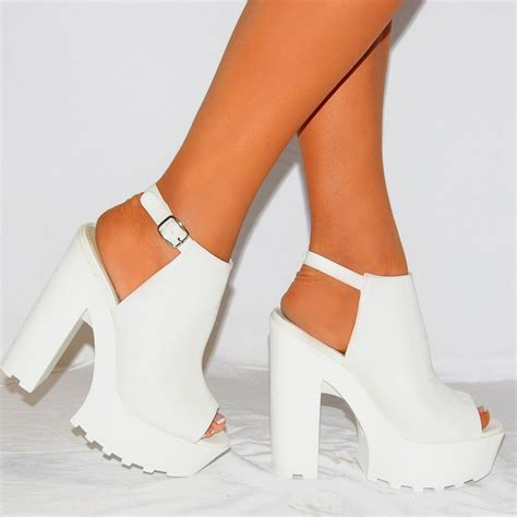 womens white pu leather chunky platforms cleated
