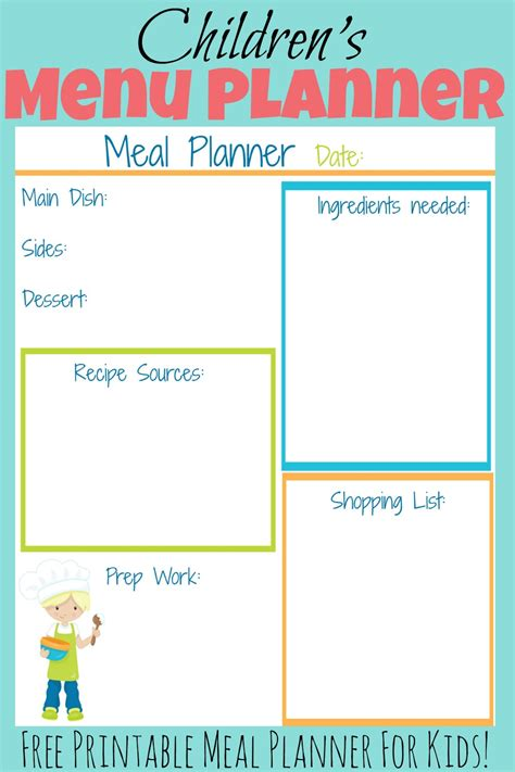 Printable Meal Planner For Toddlers | children s meal planners more excellent me