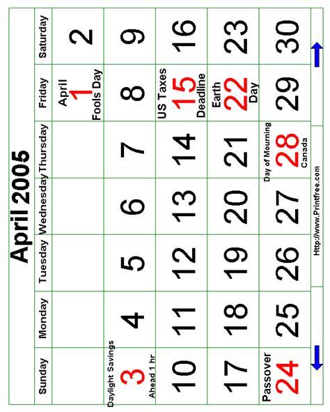 April 2005 Calendar April 2005 Bold Calendar