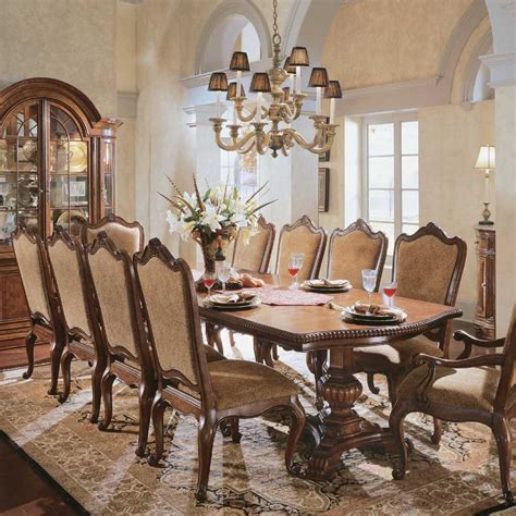 italian dining room tables universal furniture villa cortina pedestal rectangular dining set by dining rooms outlet