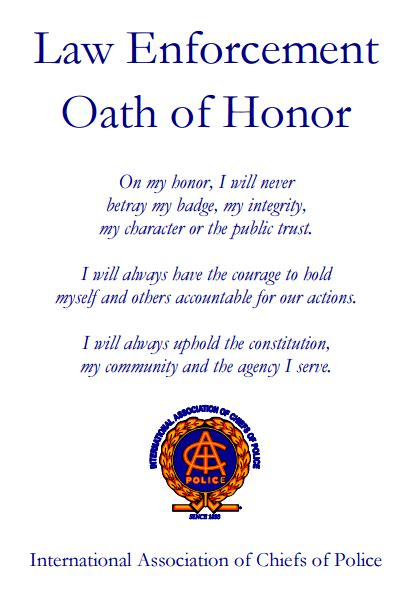 oath of honor blue justice conduct unbecoming a call for a model code of ethics for