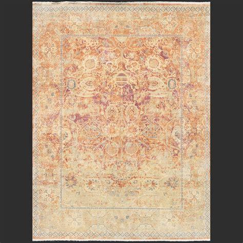 Typography Rug by Modern Design Rug Shah Jahan Vintage Camel Lavender