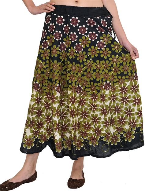 black midi skirt with printed flowers and embroidered sequins
